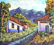 Sunset Reliefs Prints - Typical village South of the capital Print by Evelyn  Mendez