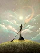 Clouds Prints - Typically Magically. Fantasy Witch Fairytale Art By Philippe Fernandez Print by Philippe Fernandez