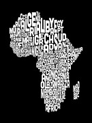 Word Map Posters - Typography Map of Africa Map Poster by Michael Tompsett