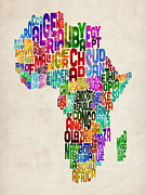 Africa Digital Art Framed Prints - Typography Map of Africa Framed Print by Michael Tompsett