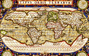 Vintage Map Digital Art - TYPVS ORBIS TERRARVM - Map of the World by Digital Reproductions