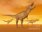 Three Dimensional Digital Art - Tyrannosaurus Rex Dinosaurs In An by Elena Duvernay