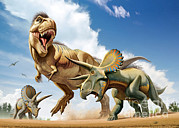 Animal Behavior Digital Art - Tyrannosaurus Rex Fighting With Two by Mohamad Haghani
