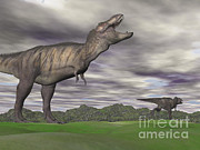 Overcast Day Digital Art Posters - Tyrannosaurus Rex Growling As A Fellow Poster by Elena Duvernay