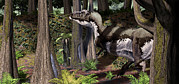 Tree Creature Digital Art Framed Prints - Tyrannosaurus Rex Patrols The The Edges Framed Print by Roman Garcia Mora