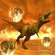 Judgment Day Digital Art - Tyrannosaurus Rex Struggles To Escape by Elena Duvernay