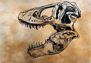 Skull Paintings - Tyrannosaurus skull by Harm  Plat