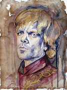 Game Mixed Media Metal Prints - Tyrion Lannister Metal Print by Slaveika Aladjova