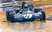 Ford Watercolor Framed Prints - Tyrrell Ford 003 Jackie Stewart 1971 French GP Framed Print by Yuriy  Shevchuk