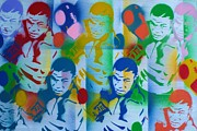Boxing Gloves Painting Prints - Tyson pop art 1 Print by Leon Keay