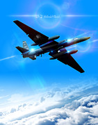 U2 Art - U-2 Dragon Lady Into The Blue by Reggie Saunders