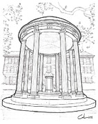 University Campus Buildings Drawings Drawings - U N C Old Well by Calvin Durham