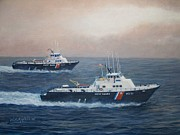 Coast Guard Painting Posters - U. S. Coast Guard Surface Effects Ships Sea Sea Hawk and Shearwater  Poster by William H RaVell III
