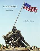 U S Flag Digital Art Posters - U. S. Marines - First To Fight . . . Poster by Daniel Hagerman