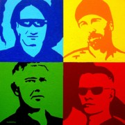 Acrylic. Green Prints - U2 Print by John  Nolan