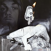Kurt Cobain Metal Prints - #uck Fame Metal Print by Christian Chapman Art