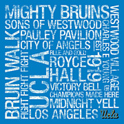 College Mascot Posters - UCLA College Colors Subway Art Poster by Replay Photos