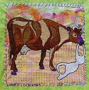 Cow Tapestries - Textiles Prints - Udder Freedom Print by Susan Sorrell