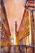 Travel Destination Painting Originals - Uffizi- Florence by Ryan Fox