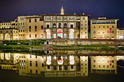 Arno River Prints - Uffizi Gallery Reflections Print by George Oze