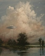 Alien Painting Originals - UFOs - A Scouting Party by Tom Shropshire