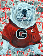Mascot Mixed Media Framed Prints - UGA Bulldog II Framed Print by Michael Lee