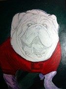 Mascot Painting Metal Prints - Uga Metal Print by Michelle Reed