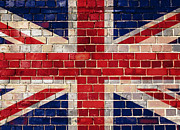 Grime Digital Art Framed Prints - UK flag on a brick wall Framed Print by Steve Ball
