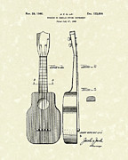 Ukelele Drawings Posters - Ukelele 1940 Patent Art Poster by Prior Art Design