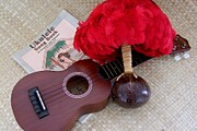 Ukulele Ipu And Songbook Print by Mary Deal