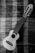Rug Digital Art Acrylic Prints - Ukulele Still Life In Black And White Acrylic Print by Ben and Raisa Gertsberg