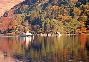 Tree Reflections In Water Framed Prints - Ullswater steamer Framed Print by Linsey Williams