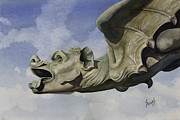 Cathedral Paintings - Ulmer Munster Gargoyle by Sam Sidders