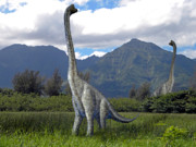 Dinosaur Illustrations - Ultrasaurus In Meadow by Frank Wilson