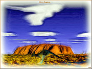 Kangaroo Digital Art Framed Prints - Uluru Kangaroo Framed Print by Daniel Janda