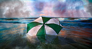 Topsail Island Posters - Umbrella Art Poster by Betsy A Cutler East Coast Barrier Islands