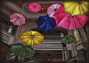 \\\\joan Minchak\\\\ Framed Prints - Umbrella Fun Framed Print by Joan  Minchak