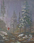 Snow-covered Landscape Painting Prints - Umbrella Lady Print by Bev Finger