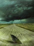 Sandra Cunningham - Umbrella left on the road with wind and rain
