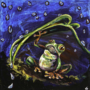 Red-eyed Tree Frog Painting Prints - Umbrella Print by Lovejoy