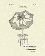 Table Drawings Prints - Umbrella Table 1940 Patent Art Print by Prior Art Design
