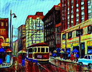 Couples Paintings - Umbrellas In The Rain Couples Stroll St.catherine Street Downtown Montreal Vintage  City Scene  by Carole Spandau
