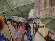 Cities Pastels Posters - Umbrellas Poster by Marion Derrett