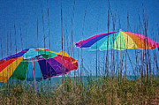 Umbrellas Digital Art - Umbrellas on Sanibel Island Beach by Georgianne Giese