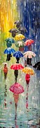 Rainy Street Painting Framed Prints - Umbrellas Framed Print by Svilen And Lisa