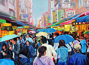 Crowd Scene Art - Umbrellas up in Taiwan by Karen Cade