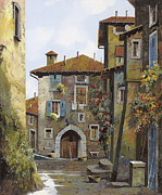 Italy Village Framed Prints - Umbria Framed Print by Guido Borelli