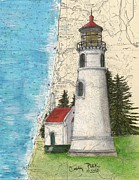 Map Art Painting Posters - Umpqua River Lighthouse OR Nautical Chart Map Art Cathy Peek Poster by Cathy Peek