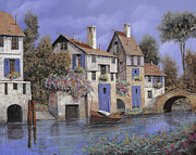 Stone Bridge Framed Prints - Un Borgo Tutto Blu Framed Print by Guido Borelli