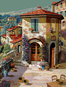 Table Painting Metal Prints - Un Cielo Verdolino Metal Print by Guido Borelli
